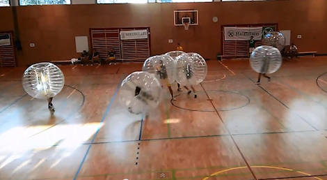 Bubble football (Screenshot from http://youtu.be/cl98-HwR15s)
