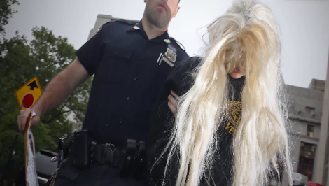 Amanda Bynes after her arrest in New York. (Screen shot from http://youtu.be/fMEn-_Rx5b8)