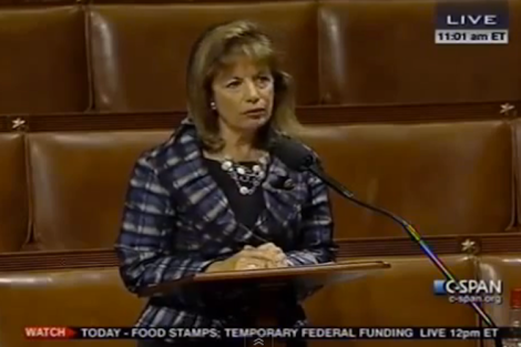 U.S. Representative Jackie Speier recently defended the food stamp program. (Screen shot from http://youtu.be/D-UxpaACDqM)
