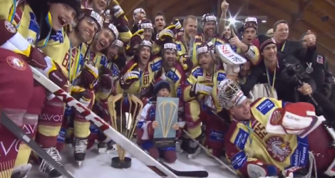 Geneve Servette took down CSKA Moscow to win the 2013 Spengler Cup (Screen shot from http://youtu.be/O1QkAEcVdtM)