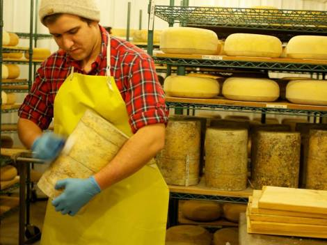 Reynolds at work brushing cheese. (Image courtesy of Nature's Harmony Farm)