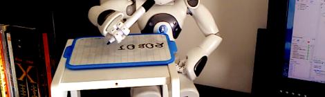 A robot writer the word robot