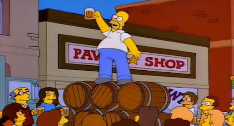 Home Simpson toasting to alcohol